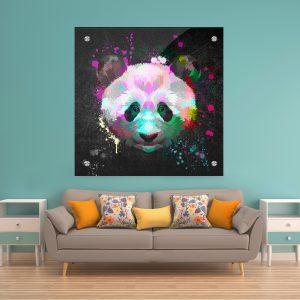 תמונת זכוכית פנדה צבעונית לעיצוב הבית על קיר בסלון