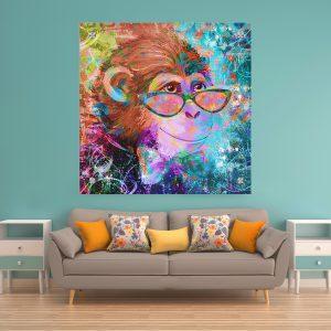 תמונת זכוכית קוף גרפיטי לעיצוב הבית על קיר בסלון
