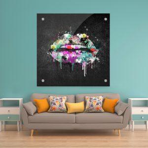 תמונת זכוכית שפתיים צבעוניות 2 לעיצוב הבית על קיר בסלון