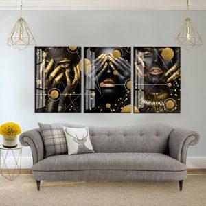 תמונת קנבס נשים גאומטריות לסלון לעיצוב הבית