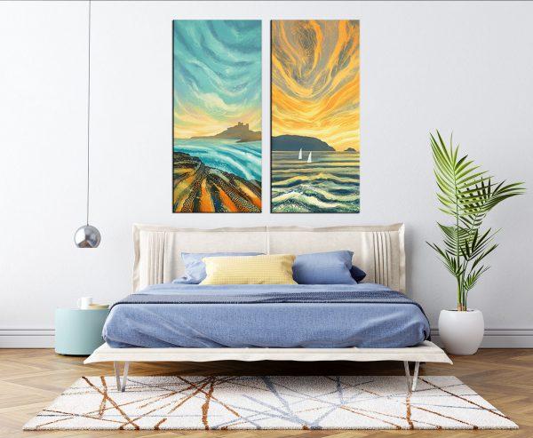 תמונת קנבס שקיעות שונות לסלון לעיצוב הבית
