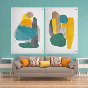 תמונת זכוכית אבני הצבע לסלון לעיצוב הבית