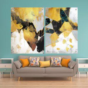 תמונת זכוכית אבסטרקט יוקרתי לסלון לעיצוב הבית