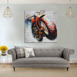 תמונת קנבס אופנוע אומנותי לסלון לעיצוב הבית