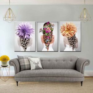 תמונת קנבס אחורי פרחוני לסלון לעיצוב הבית