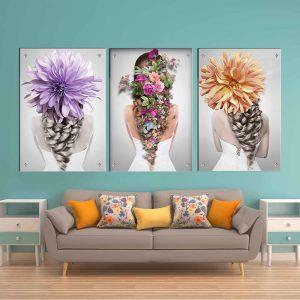 תמונת זכוכית - אחורי פרחוני לעיצוב הבית על קיר בסלון
