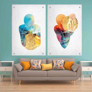 תמונת זכוכית - אנשי כדור הזהב לעיצוב הבית על קיר בסלון