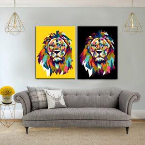 תמונת קנבס אריה שחור חרדל לסלון לעיצוב הבית