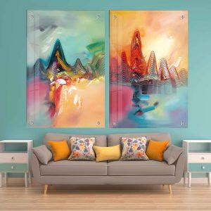 תמונת זכוכית - גלים דקורטיבים לעיצוב הבית על קיר בסלון
