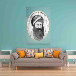 תמונת זכוכית - הבן איש חי מצוייר לעיצוב הבית על קיר בסלון