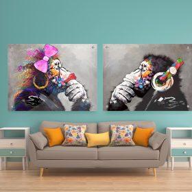 תמונת זכוכית זוג קופים לסלון לעיצוב הבית