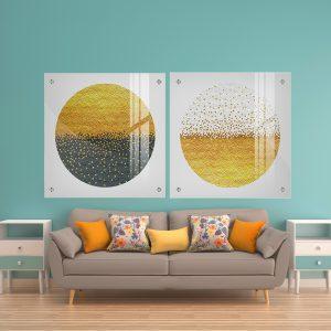 תמונת זכוכית כוורות מנוגדות לעיצוב הבית על קיר בסלון