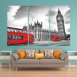 לונדון שחור לבן אדום זכוכית