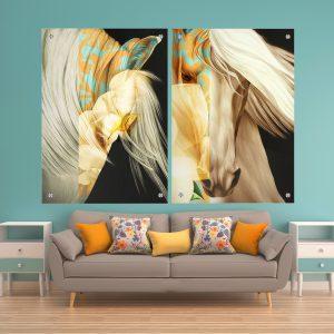 תמונת זכוכית מחשבות הסוס לסלון לעיצוב הבית