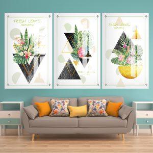 תמונת זכוכית - עלים טריים גאומטריים לעיצוב הבית על קיר בסלון