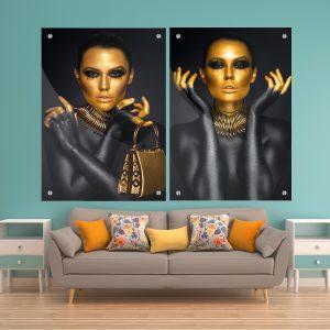 תמונת זכוכית פני זהב לסלון לעיצוב הבית