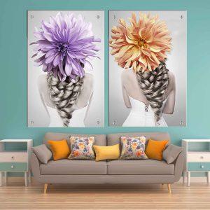 תמונת זכוכית - פרחים אחוריים לעיצוב הבית על קיר בסלון