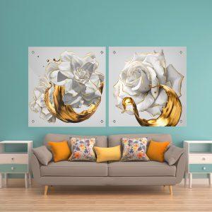 תמונת זכוכית שושנים טהורים לסלון לעיצוב הבית