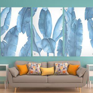 תמונת זכוכית עלים כחולים לעיצוב הבית על קיר בסלון