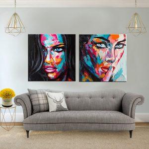 תמונת קנבס נשים צבעוניות 2 לסלון לעיצוב הבית