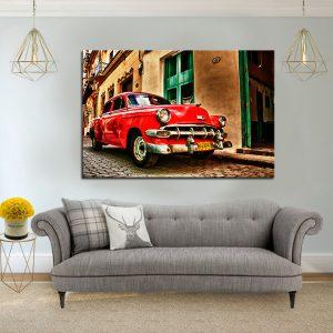 תמונת קנבס אדומה של קובה לסלון לעיצוב הבית