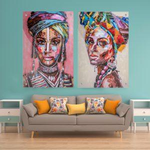 תמונת קנבס אפריקאיות צבעוניות לעיצוב הבית