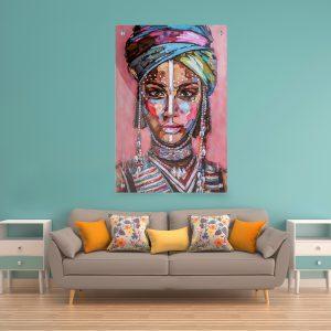 תמונת קנבס גאפריקאית צבעונית פורטרט לסלון לעיצוב הבית