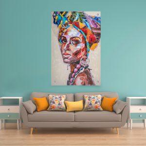 תמונת זכוכית אפריקאית צבעונית פרופיל לסלון לעיצוב הבית