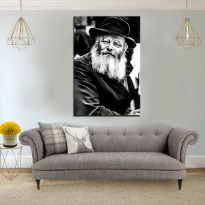 תמונת קנבס הרבי מליובאוויטש שחור לבן לסלון לעיצוב הבית