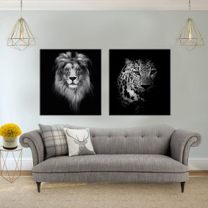 תמונת קנבס טורפים שחור לבן לסלון לעיצוב הבית