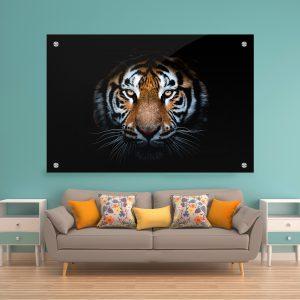 תמונת קנבס טייגר בהפתעה לסלון לעיצוב הבית