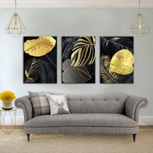 תמונת קנבסעלי טרופי שחור זהב לסלון לעיצוב הבית