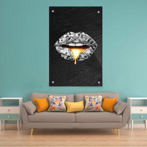 תמונת זכוכית - שפתיי 100 דולר לעיצוב הבית על קיר בסלון