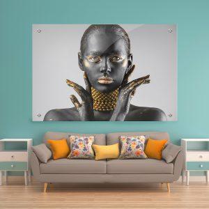 תמונת זכוכית שרשת שחור זהב לסלון לעיצוב הבית