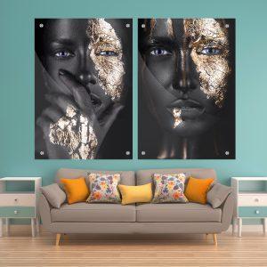 תמונת זכוכית לעיצוב הבית על קיר בסלון פרצוף זהב